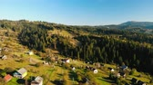 aerial drone shot rural landscape mountains village in autumn season Dostupné videozáznamy