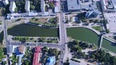 top view on the urban town contaminate with harmful substances river with green water road with driving cars Dostupné videozáznamy