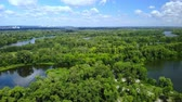 aerial view on the city with summer nature landscape amazing lake and park with green foliage Stok Video