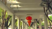 Bottom up shot of Chinese lanterns. Traditional Chinese decoration under white ceiling.