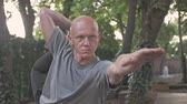 retiro : Serious handsome bald man doying yoga exercise in park outdoors