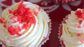 creme : Red velvet cupcake. The finished cakes are on the plate.