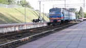 холеный : A commuter train runs along rails along the platform. Стоковые видеозаписи