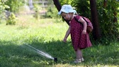 hosepipe : Little girl dabbles Sprinkle with hot summer sunny day in the park. The concept of a happy childhood. Stock Footage