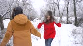 sixteen : Couple in love. Teenagers on a date in the winter outdoors. The girl and the guy are kissing and fooling around. She throws snow at him. Strong embrace. Stock Footage