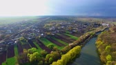 aerial view of beautiful nature and cozy streets with houses Stock mozgókép