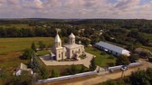 Orthodox church in the Ukrainian village. Aerial view. Stock mozgókép
