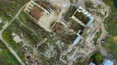 yıkıldı : Aerial view of a destroyed factory. Remains of buildings. Stok Video