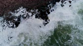 hawaii : Aerial view of rocky coastline with crashing waves