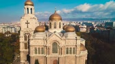 The Cathedral of the Assumption in Varna city center, aerial drone view