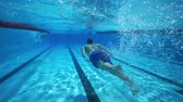 Underwater diving, man swimming in clear pool water