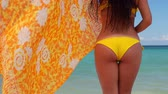 traseiro : Summer beach vacation. Sexy carefree woman body in bikini and scarf. White sand, blue sky and crystal sea of tropical island. Holiday at Paradise. Stock Footage