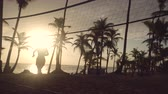 Sunrise on tropical beach, friends playing beach volleyball Wideo