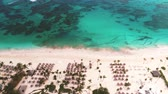 Aerial landscape view of Caribbean tropical beach. Travel and vacation in Bavaro resort. Punta Cana, Dominican Republic.