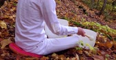 meditare : Fixed angle from the back filmed in the forest and showing trees with leaves turned to yellow