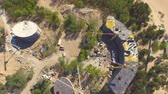 crane : Aerial view of construction site Stock Footage