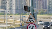 ограничение : Radar speed control camera and signs on the road