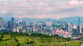 близнецы : Panorama cityscape view in the middle of Kuala Lumpur city center ,day time , Malaysia. Стоковые видеозаписи