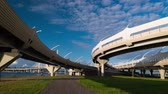 поднятый : Underside of an elevated roads against the blue sky