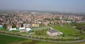 bez domova : Nature and landscape, municipality of Solaro, Milano: Aerial view of a field, houses and homes, farming, grass green, countryside, farming, trees. italy
