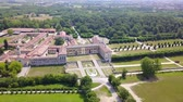 šlechta : Villa Arconati, Castellazzo, Bollate, Milan, Italy. Aerial view of Villa Arconati 21062017. Gardens and park, Groane Park. Palace, baroque style palace, streets and trees seen from above