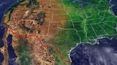 Map of USA and border with Mexico, US map with reliefs and mountains of North America with wall dividing the US border from Mexico Stock Footage