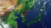 North Korea map and border, physical map Asia, East Asia, map with reliefs and mountains and Pacific Ocean