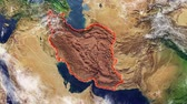 Map of Iran and borders, physical map Middle East, Arabian Peninsula, map with reliefs and mountains