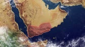 Yemen map and borders, physical map Middle East, Arabian Peninsula, map with reliefs and mountains Stock Footage