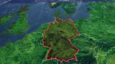 Germany map and borders, Central Europe map, map with reliefs and mountains Stock Footage