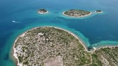 Island of lovers, Otok Galesnnjak, islet, rock. Also called otok za Zaljubljene, island of love. Municipality of Torrette Stock Footage