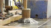 koruyucu : Drilling On Rig immersing drilling pipe into the borehole drilling on the pontoon close up slow motion