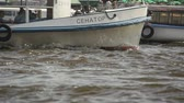 коммерческий : Two boats crossing on river slow motion Стоковые видеозаписи