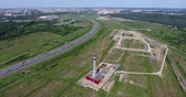 Construction site of gas power plant. Aerial shot