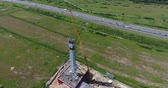 Chimney pipe construction. Aerial shot, fly around Stok Video