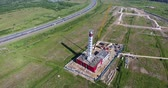 Construction site of gas power plant aerial long shot Stok Video