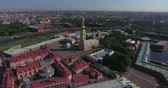 Aerial view of Peter and Paul Fortress in Saint-Petersburg morning Stok Video