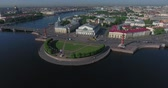 St. Petersburg Stock Exchange Building, Rastralnye columns, aerial Stock Footage
