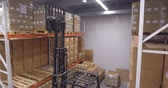 отправка : Forklift truck lift cargo in warehouse Стоковые видеозаписи