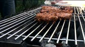 time : The process of cooking meat on the grill closeup Stock Footage