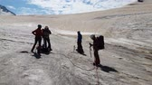 honda : Four climbers standing with ice axes in Georia mountains in summer in slo-mo