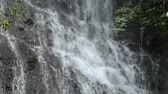 Close up white waterfall among rockwall beside trees in Kagoshima