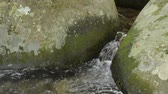 Narrow small brook flowing between rounded stones
