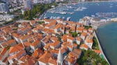 Aerial View Of Budva Old Town Tower and Pier, Montenegro 2