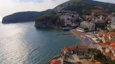 док : Aerial View Of Budva Old Town Beach, Montenegro 2 Стоковые видеозаписи