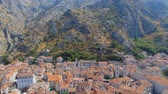 quadcopter : Aerial View Of Kotor Old Town And Mountains, Boka Kotorska, Montenegro 2 Stock Footage