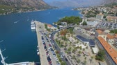 quadcopter : Aerial View Of Kotor Pier, Town And Mountains, Boka Kotorska, Montenegro