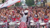 steel : London, Notting Hill carnival. Procession of  percussions and drums in costume