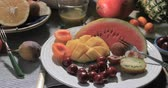 apricot : Dolly panning view of an assortment of fresh, healthy, organic fruits Stock Footage