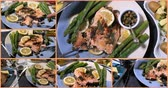 capers : Collage of different views of a delicious roasted organic salmon with capers and dill